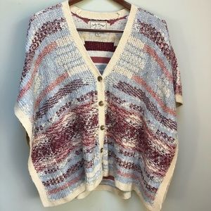 Lucky Brand   Knit Buttoned Poncho Sweater